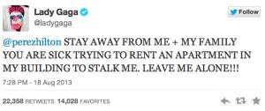 lady gaga tweet perez hilton stalker